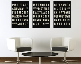 Industrial Subway Sign, Seattle Art Poster, Modern Typographic Print, City Map Style, Gift for Girlfriend, Quote Art, Gift for Men, Holiday