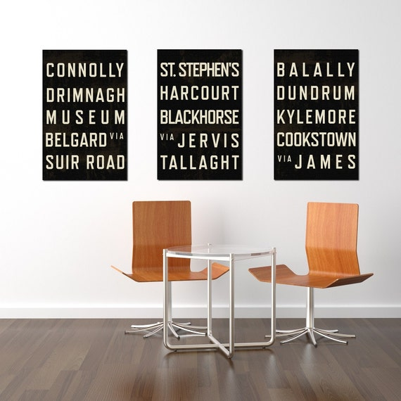 Dublin Art, Typography Sign, Poster, Subway Art, Print, Living Room Decor, Gift, Modern, Housewarming Gift, New Home Gift, Dublin Ireland