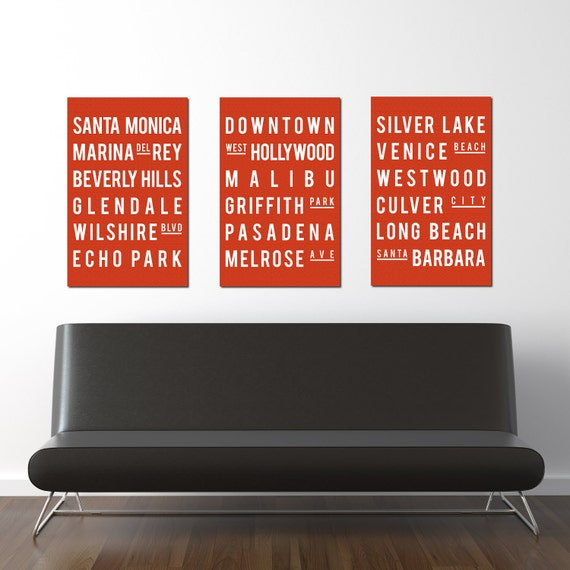 Los Angeles - Subway Sign - Modern Art - Typography Poster - Home Decor -  Set of 3 - Candy Orange