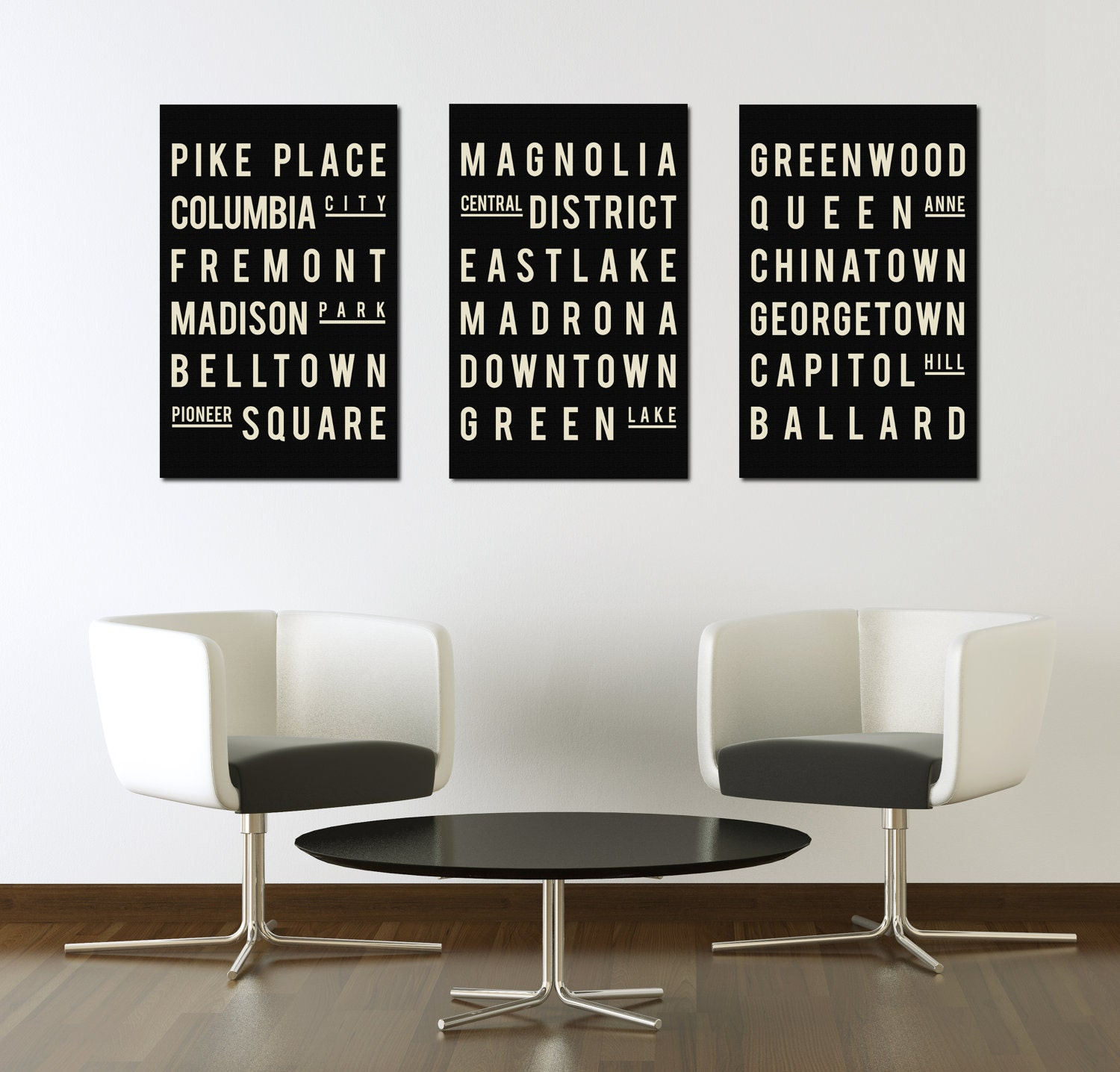 Industrial Wall Decor Industrial Subway Sign Seattle Art Poster Modern Typographic