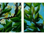 "It's Spring & It's Our Summer Home"" - Original Oil Painting TWO Paintings (bird, nest, tree, leaves)"