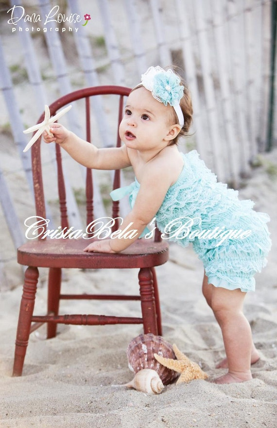 SALE Aqua   Lace Petti Romper  24 mos to 3T.. Ready to ship...