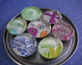 Floral, Leaf, Butterfly and Dots Magnet Set of 7