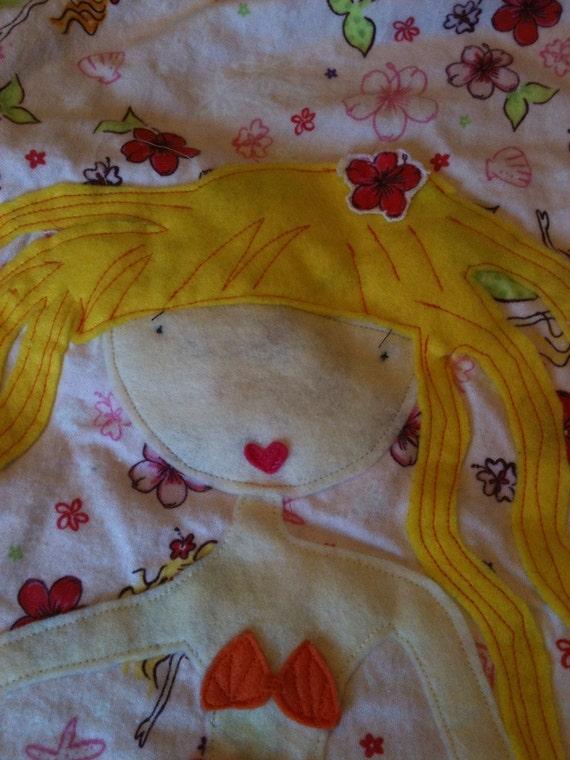 Little Malati Ragged round Appliqued mermaid Blanket quilt handmade for baby giirl/tween