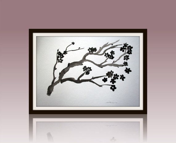 Black Cherry Original Sumi-e on Watercolor painting 18x24