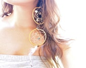Dream Catcher earrings, double, yellow with starfish, shells, turquoise and feathers