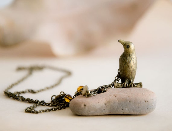 Antiqued Brass Necklace with a Bird