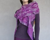 SALE 50% OFF - Felted scarf - silk and wool - purple