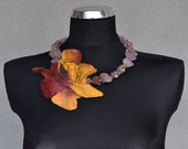 FELTED NECKLACE - flowers, slices and glass beads