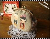 Kimono Dolls Metal frame purse/coin purse / Coin Wallet /Pouch / Kiss lock frame bag-GinaHandMade