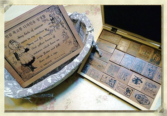 Stamps--Vintage-style Cinderella Wooden rubber Stamps 22pcs with antique wooden box--1set