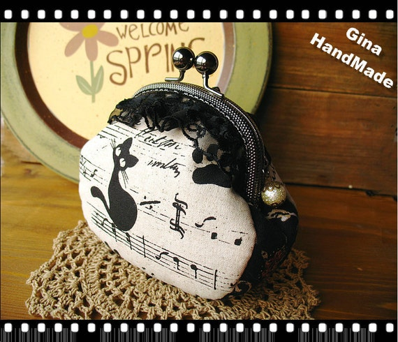 Black Cat Metal frame purse/coin purse / Coin Wallet /Pouch / Kiss lock frame bag-GinaHandMade