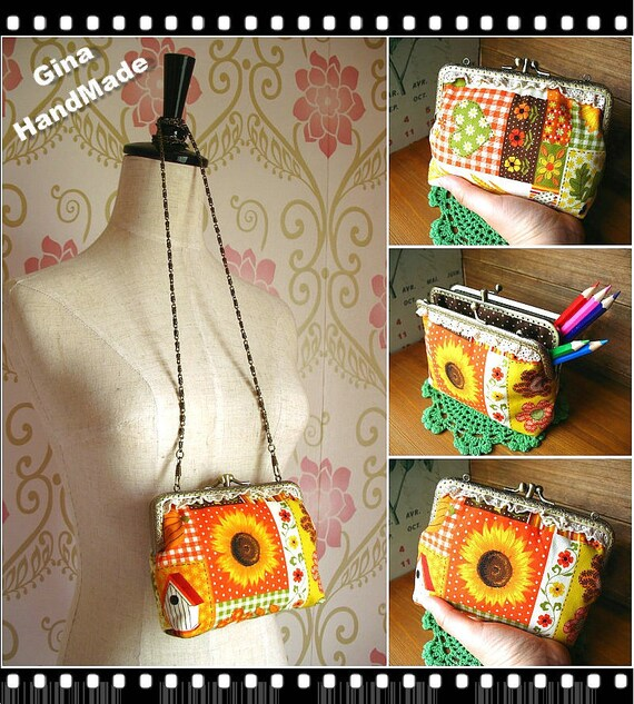 Sunflower Two compartment Metal frame purse/coin purse / Coin Wallet /Pouch / Kiss lock frame bag-GinaHandMade