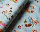 SALE - Japanese Fabric Cotton Yuwa - Schokolade Fabrik Blue - a yard