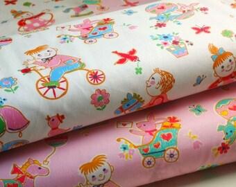 SALE-Japanese Cotton Fabric, Yuwa Fabric, Kids Fabric, Girl Fabric, Birthday Fabric, Kids Decor, Kawaii Fabric/Playing Children/a yard