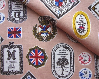 Japanese Cotton Fabric, Kokka Fabric, Flag Fabric, Cotton Linen Fabric, England Theme Fabric, Vintage Fabric/England Stamp/half yard