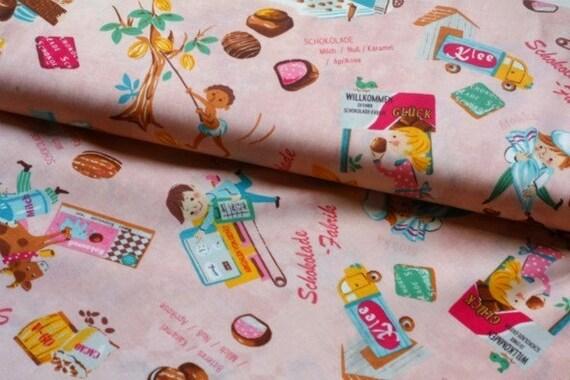 SALE - Japanese Fabric Cotton Yuwa - Schokolade Fabrik Pink - a yard