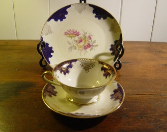 Coffee Cup, Saucer and Dessert Plate, Vintage, Fine Bone China