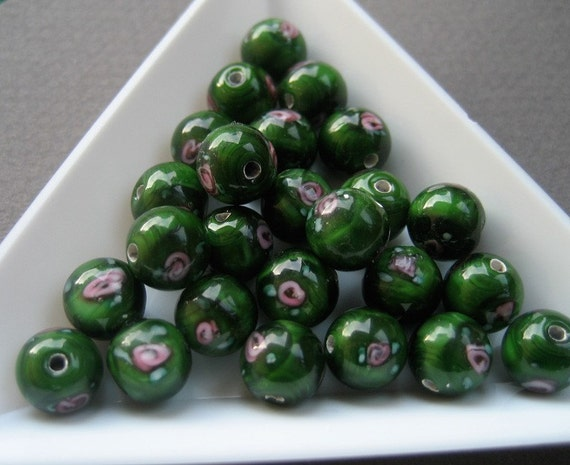 Lampwork Beads With Roses