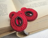 Soutache earrings, beaded earrings with red and maroon strips, acrylic and Toho beads. Isa