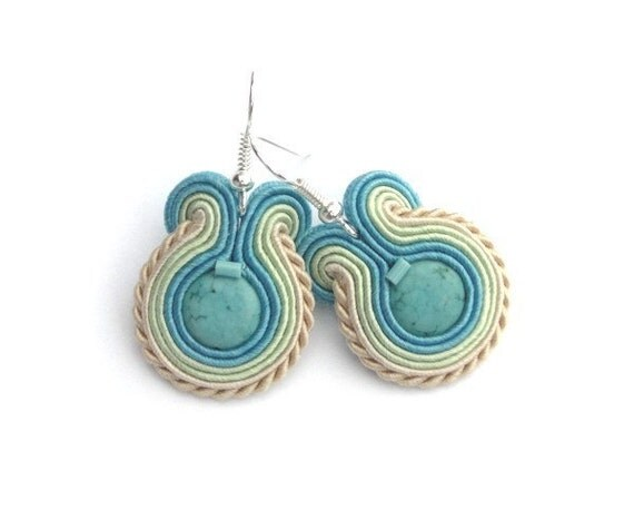 Soutache earrings, pastel, spring, summer, beige, green, blue