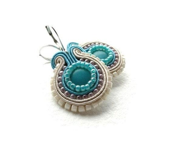 Aqua soutache earrings, beige, blue, pink
