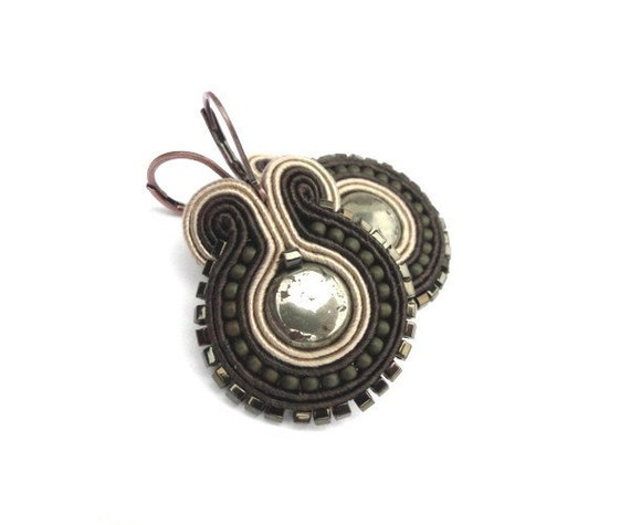 Vintage style hand embroidered earrings pyrite olive green brown beige soutache earrings