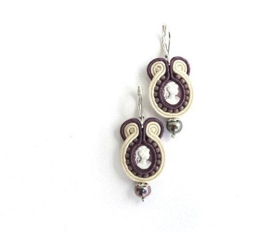 Retro earrings, cameo, OOAK, purple, beige
