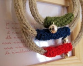 Green Red Blue Jingle Necklace 100% Virgin Wool from Abruzzo