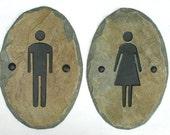 SLATE Bathroom Signs / Stone / Door Plaque / Ladies Men / Restroom #E-mw