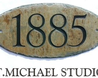 STONE Outdoor House Numbers - Address / CARVED / House warming gift 1/2 #E-1c