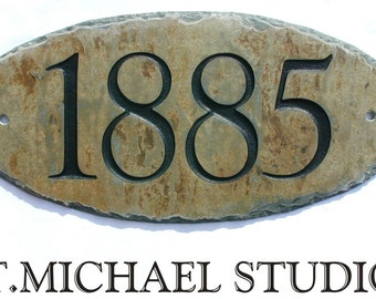 "CARVED SLATE Address Plaque /Sign / Stone / Marker / House / Number  / Condo / 5.5"" x 12"" #E-1s"
