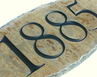 ADDRESS SIGN (Carved Stone) House number / marker  plaque / Slate / Mailbox #E-1c