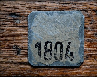 Reclaimed Slate Coasters/ Hand-stamped Circa 1804 /Vintage / Drink set / Christmas Gift #E-1804