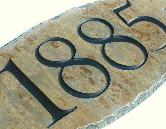 ADDRESS SIGN Carved Stone House Number / Marker By