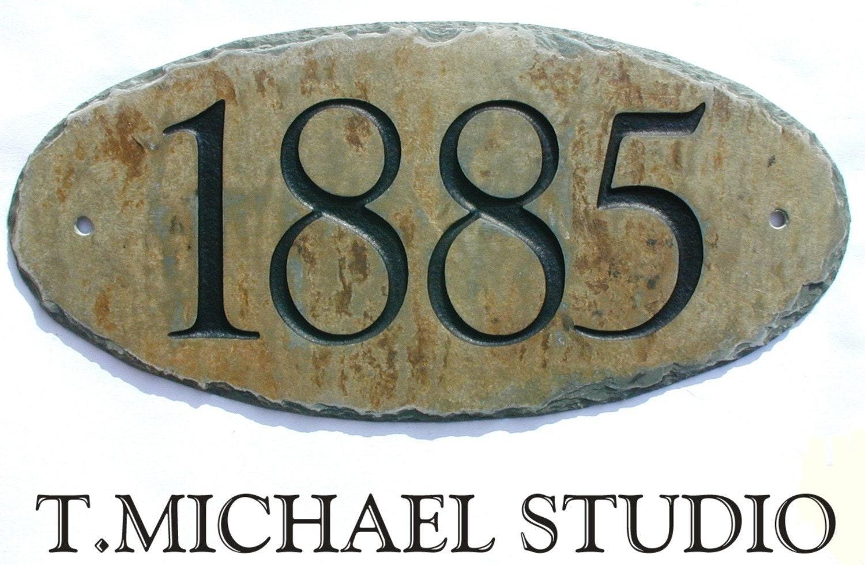 House Number Plaques Slate: CARVED SLATE Address Plaque /Sign / Stone / Marker / House
