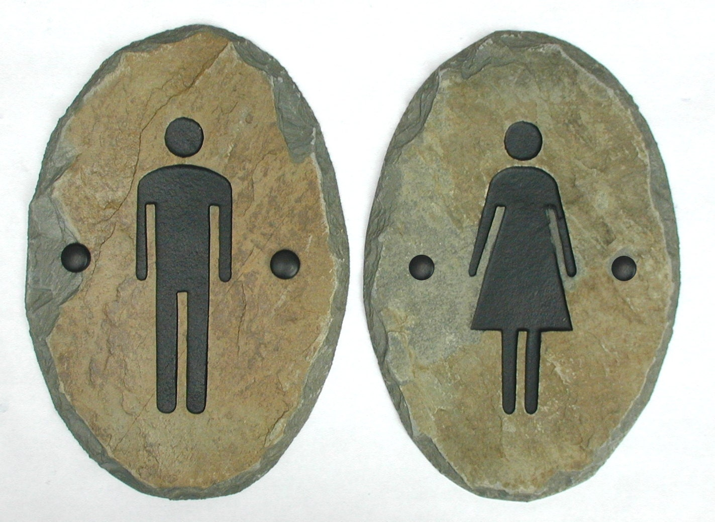 Slate Bathroom Signs Stone Door Plaque Ladies Men
