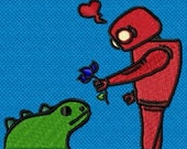 Instant Download Robot Dino Love - Love knows no bounds embroidery design - Machine Embroidery Design - Digital Design File