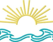 Instant Download Sun & Surf embroidery design - Machine Embroidery File - Machine Embroidery Design - Digital Design File