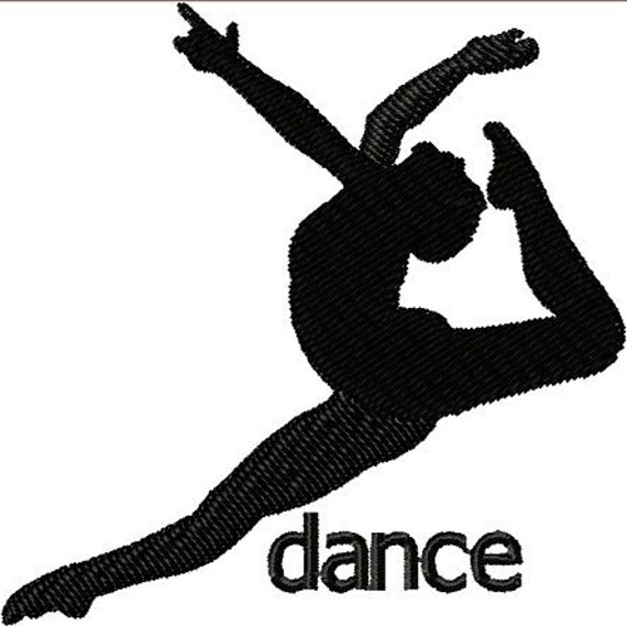 Instant Download Dancer Silhouette embroidery design - Custom    Dancer Jumping Silhouette