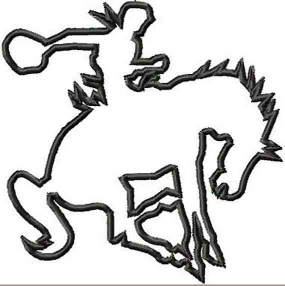 Instant Download Bronco Rider Applique embroidery design - Machine Embroidery Design - Digital Design File