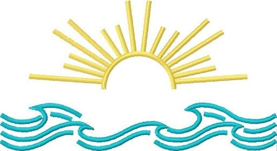 Instant Download Sun & Surf embroidery design - Machine Embroidery File - Machine Embroidery Design - Digital Design File