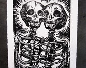 Siamese Twins Original Woodcut Print