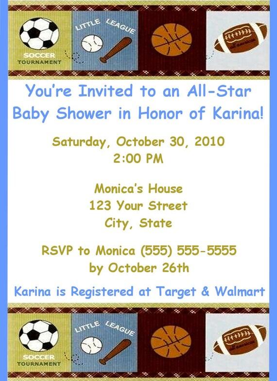 30 sports baby shower invitations by designsbylc605 on etsy