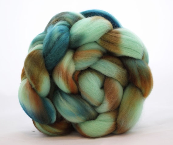 Hand dyed Polwarth Combed Top 4.1oz - Archipelago