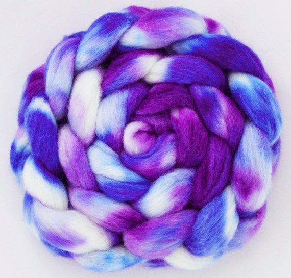 Hand dyed BFL/Silk Combed Top - 4.4oz - Somewhat Royal