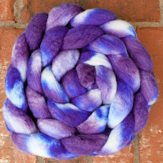 Hand dyed BFL/Silk Combed Top - 5.1oz - Somewhat Royal