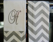 Monogram Kitchen Towels or Hand Towels in Grey / White Chevron