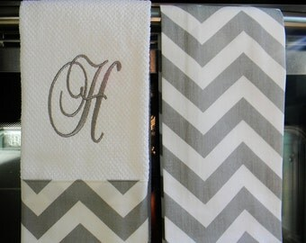 Monogram Kitchen Towels or Hand Towels in Grey / White Chevron | Housewarming Gift | Hostess Gift | Gifts for Her | Wedding