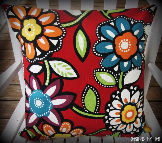 Red Floral Decorative Outdoor Pillow Cover 18x18